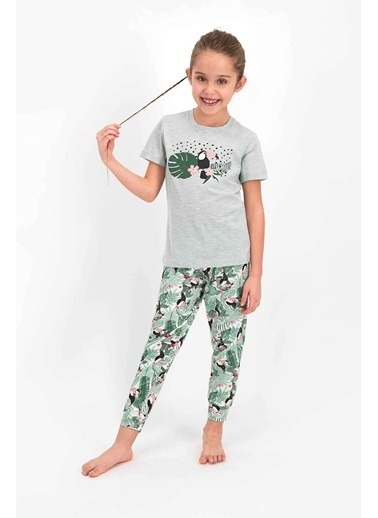 Arnetta Leaves And Birds Yeşilmelanj Kız Çocuk Kısa Kol Pijama Takımı Yeşil